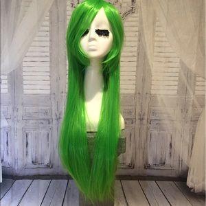 New goddess green wig straight ultra long